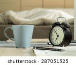 cup mug and book  pencil  retro ... | Shutterstock . vector #287051525
