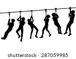 silhouettes of children playing ... | Shutterstock .eps vector #287059985
