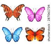Watercolor Colorful Butterflies ...