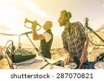 dj playing summer hits at... | Shutterstock . vector #287070821
