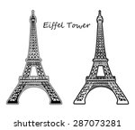 eiffel tower silhouette and... | Shutterstock .eps vector #287073281