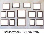 wood picture frame on vintage...   Shutterstock . vector #287078987