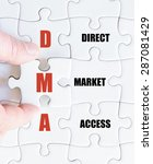 Small photo of Hand of a business man completing the puzzle with the last missing piece.Concept image of Business Acronym DMA as Direct Market Access