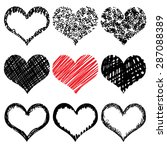 vector set of hand drawn hearts.... | Shutterstock .eps vector #287088389