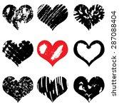 vector set of hand drawn hearts.... | Shutterstock .eps vector #287088404