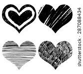 drawn black hearts silhouette... | Shutterstock .eps vector #287088434