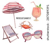 watercolor beach vacation set.... | Shutterstock .eps vector #287089391