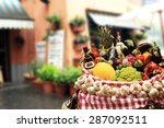 vegetables and fruits with wine ... | Shutterstock . vector #287092511