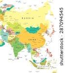 asia   map   illustration | Shutterstock .eps vector #287094545