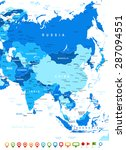 asia map   highly detailed... | Shutterstock .eps vector #287094551