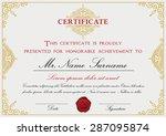 certificate template design... | Shutterstock .eps vector #287095874