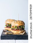 delicious burgers with beef on...   Shutterstock . vector #287099909