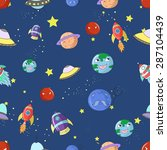 space seamless pattern cartoon... | Shutterstock .eps vector #287104439
