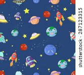space seamless pattern cartoon... | Shutterstock . vector #287123315