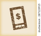 grungy brown icon with dollar...