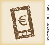 grungy brown icon with euro...