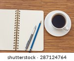 blank notebook with pen and... | Shutterstock . vector #287124764