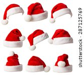 Santa Claus Hats Isolated On...