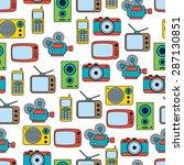 retro electronic seamless... | Shutterstock .eps vector #287130851