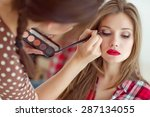 make up artist doing... | Shutterstock . vector #287134055