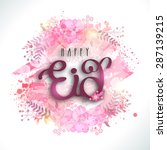 glossy text happy eid on... | Shutterstock .eps vector #287139215