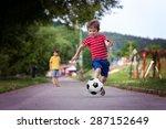 two cute little kids  playing... | Shutterstock . vector #287152649
