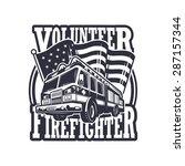 vintage firefighter emblem with ... | Shutterstock . vector #287157344