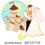 Bride  Groom And Cartoon Castle