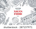 asian food frame. linear... | Shutterstock .eps vector #287157971
