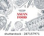 asian food frame. linear... | Shutterstock .eps vector #287157971