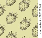 hand drawn strawberry seamless... | Shutterstock .eps vector #287172749