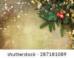 christmas fir tree border over... | Shutterstock . vector #287181089