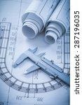 rolled construction drawings... | Shutterstock . vector #287196035
