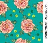 watercolor peony pattern.... | Shutterstock . vector #287202944