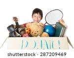 little boy taking donation box... | Shutterstock . vector #287209469