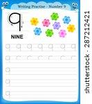 writing practice number nine... | Shutterstock .eps vector #287212421