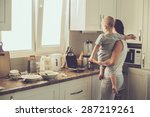 mom with her 2 years old child... | Shutterstock . vector #287219261