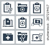 vector icon set of patient... | Shutterstock .eps vector #287219417
