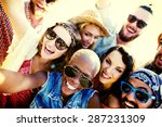 diverse people beach summer... | Shutterstock . vector #287231309