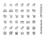 shopping icon set  black outline | Shutterstock .eps vector #287232611