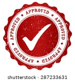 red grunge approved rubber... | Shutterstock .eps vector #287233631