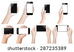 hand hold smartphone black and... | Shutterstock . vector #287235389