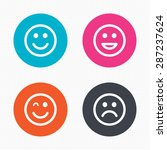 circle buttons. smile icons.... | Shutterstock .eps vector #287237624