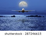 airplane fly above ocean under... | Shutterstock . vector #287246615