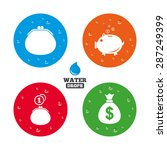 water drops on button. happy... | Shutterstock .eps vector #287249399