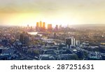 sunset in london  canary wharf... | Shutterstock . vector #287251631