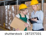 elderly female factory worker... | Shutterstock . vector #287257331