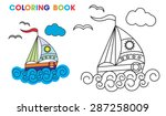 Coloring Book  Sailboat On The...