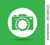 green flat photo camera icon  ...