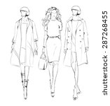 sketch. fashion girls | Shutterstock .eps vector #287268455